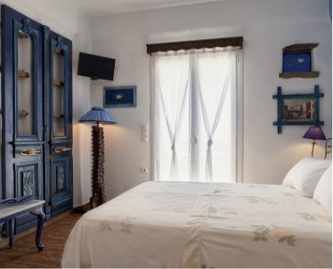 Castria Studios blue studio bedroom